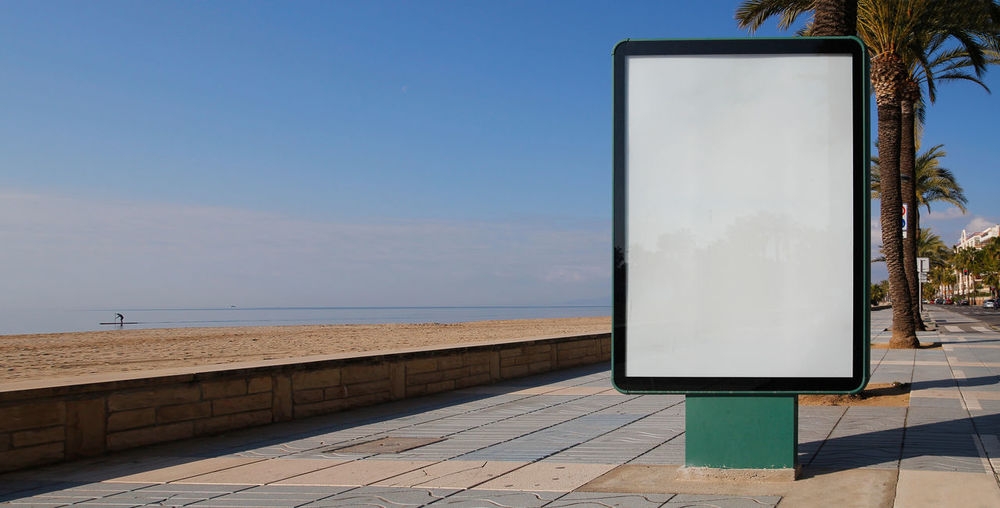 Blank billboard mock up Advertising Architecture Billboards City Advertisement Beach Billboard Blank Commercial Day Empty Foothpath Horizon Over Water Mock Up Mockup No People Nobody Outdoors Sea Street Water