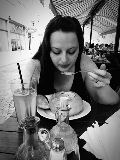 Friend,her soup and a hot day Pornfood IPhone Photography Eye4photography  Taking Photos EyemEm Best Shots - Black + White People Watching Friendship