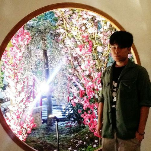 My Son with Sakura Circular Window Flower Dome Flower Dome Spring 2017 Gardens By The Bay Singapore