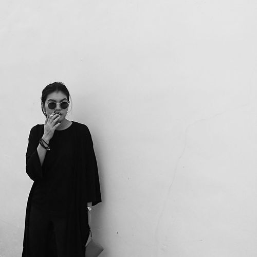 One Person Adult Wall - Building Feature Copy Space Young Adult Portrait Fashion Backgrounds Blackandwhite Firsteyeemphoto First Eyeem Photo Emotion Standing The Portraitist - 2018 EyeEm Awards EyeEmNewHere