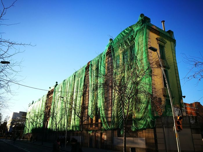 Sky Barcelona City Wrapped Building Abandonned Building Grenn