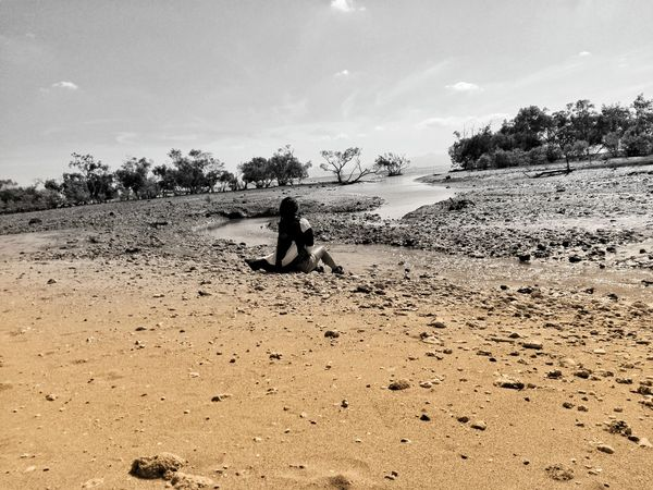 Beach Full Length Water Sand Sea Childhood Child Silhouette Sky Horizon Over Water Shore