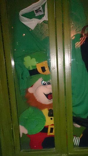 Un Muñeco de el Duende Verde en una Vitrina de un Pub Irlandés en Zaragoza