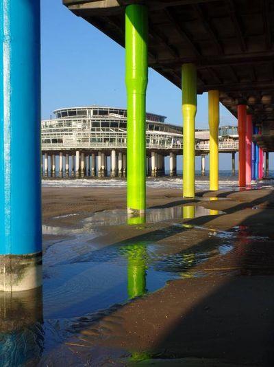 We loved the Dutch North Sea coast in November. Northsea The Netherlands Rainbow Colors Columns Low Tide Scheveningen Pier Scheveningen  Built Structure Architecture Architectural Column Water Nature Day No People