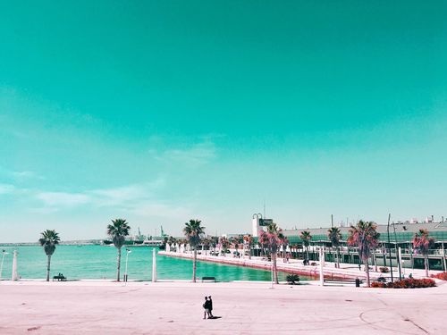 Beach Sand Sea Sky Day Outdoors Built Structure Real People Men Architecture Building Exterior Blue Palm Tree Water Vacations Nature Tree People