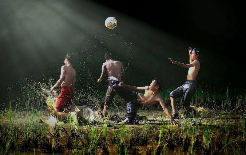 football euphoria Light Child Sportsman Athlete Sport Motion Water Competition Match - Sport Soccer Activity Mid-air Kicking Kids' Soccer
