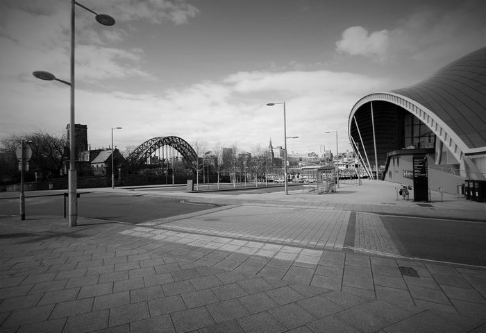 The old and the new cityscape Arch Architecture Built Structure City City Life Cloud - Sky Empty Newcastle Upon Tyne No People Outdoors Road Sage Gateshead Street Light Tyne Bridge St Marys Church Oakwellgate