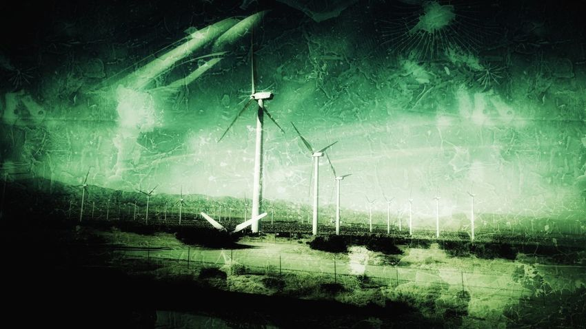 Scary Wind Turbines Water Green Color Spraying No People Outdoors Grass Technology