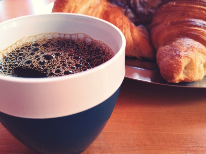 Croissant Drink French Food Breakfast Bread Table Frothy Drink Coffee - Drink Coffee Cup Croissant Close-up Espresso Caffeine Black Coffee Prepared Food Baked Pastry Brown Bread Hot Drink
