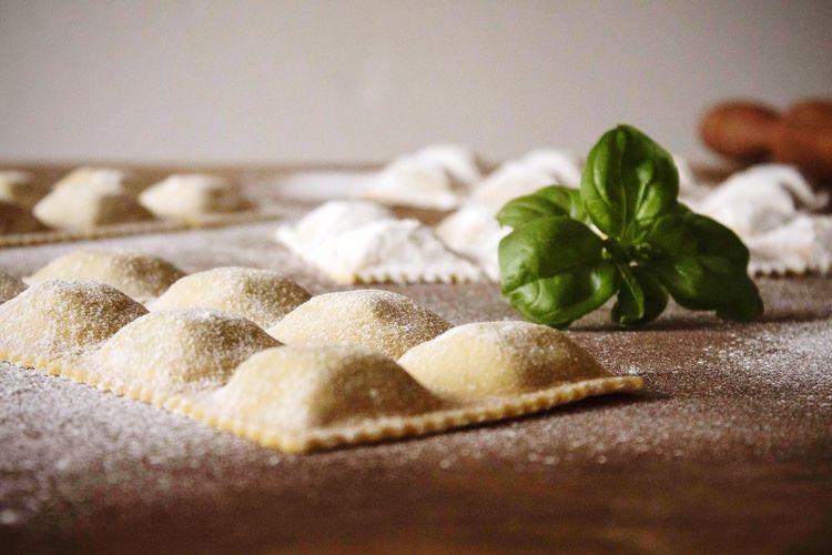 Close-up of homemade ravioli