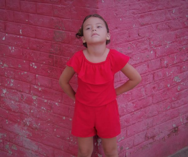 I love . . . <3 Brick Wall Childhood Children Only Day Elementary Age Front View One Person Outdoors People Real People Red Standing Three Quarter Length EyeEmNewHere