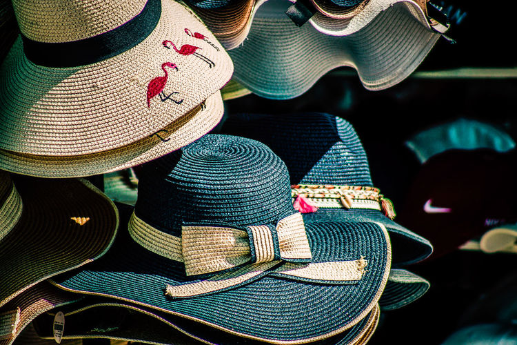Full frame shot of hats for sale at market