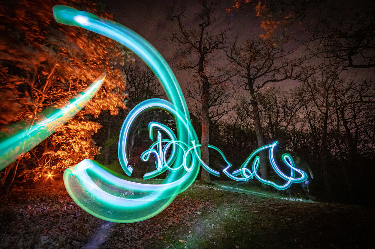 illuminated, long exposure, motion, night, glowing, light painting, light trail, no people, speed, light - natural phenomenon, nature, tree, blurred motion, creativity, multi colored, pattern, plant, art and craft, swirl, lighting equipment, light, wire wool