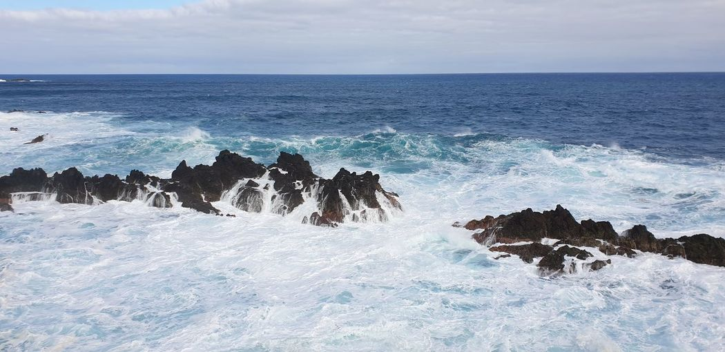 Portugal Madeira Porto Moniz Madeira Water Wave Sea Beach Blue Sky Horizon Over Water Rushing Power In Nature Shore Rocky Coastline Flowing Water Seascape Crashing Force