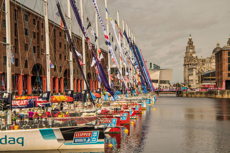 Clipper Race Liverpool 2017-18 Liver Birds Liverpool Oar Yacths Sailing Albert Dock Heritage Building Mersey Water Yacht Yachting