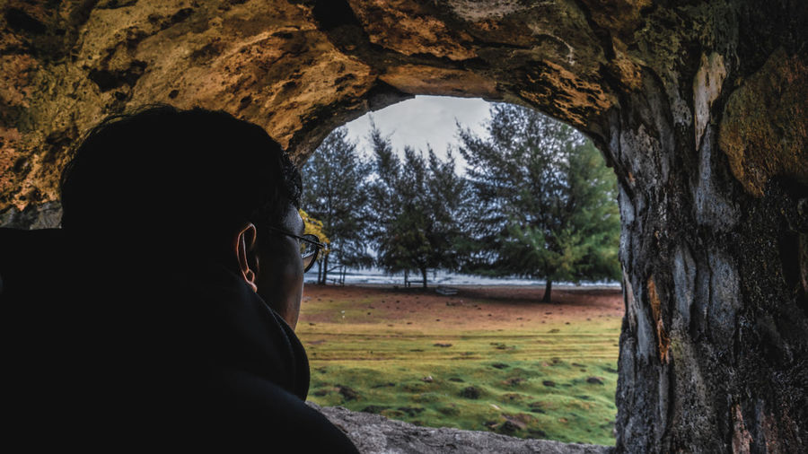 Rear view of man looking through cave against trees