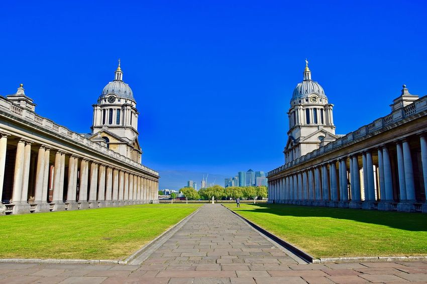 Old Royal Naval College - Greenwich University, London. Greenwich Greenwich Naval College London Architectural Column Architecture Building Exterior Clear Sky Greenwich Village Landscape No People Outdoors Sky Travel Destinations