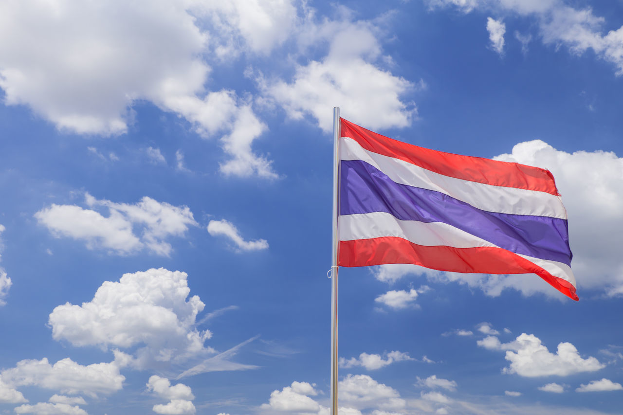 flag, cloud - sky, sky, patriotism, red, day, blue, wind, low angle view, outdoors, no people