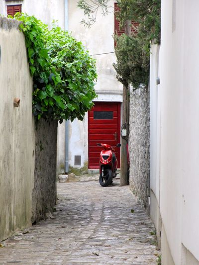 Red in Red Art Art Photography Building Exterior Built Structure Day Krk  Moped Motorbike No People Red Red Door Red Motorbike Rotes Moped