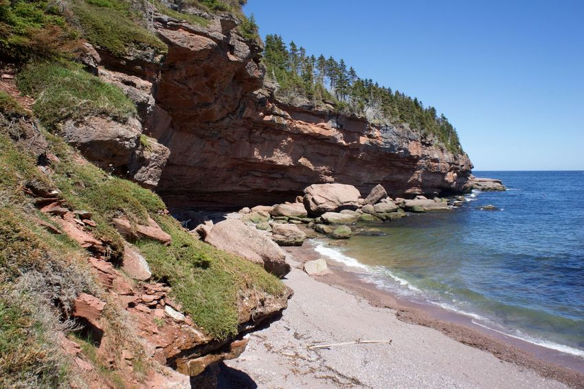 Beach Beauty In Nature Clear Sky Cliff Gaspesie Horizon Over Water Landscape Nature No People Outdoors Rock - Object Rock Formation Scenics Sea Tranquil Scene Tranquility Travel Destinations Water