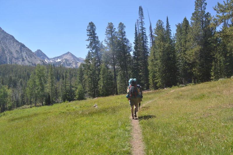 Rear view of women walking on dirt trail