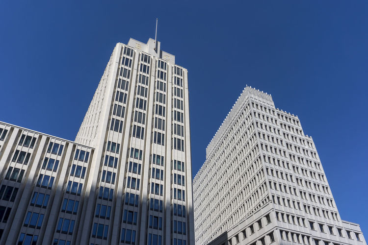 The Two Towers of Beisheim Center at Potsdamer Platz Architecture Beisheim Center Berlin Germany 🇩🇪 Deutschland Horizontal Blue Building Building Exterior Built Structure City Color Image Day Low Angle View Modern No People Office Building Exterior Outdoors Potsdamer Platz Sky Skyscraper Spire  Sunlight Tall - High Tower