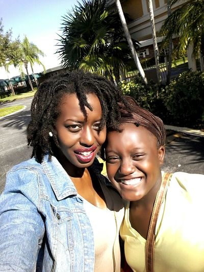NoEditNoFilter Beauty Lifestyles Smiling Leisure Activity Outdoors Cheerful Bonding Matte Lipstick Real People Blackgirlmagic Darkskin & Lovely Togetherness Melanin Black Hair Dreadheadbeauty Goddess Beautiful Woman Selfie Time Browneyedgirl Mommy And Daughter Mommydaughtertime