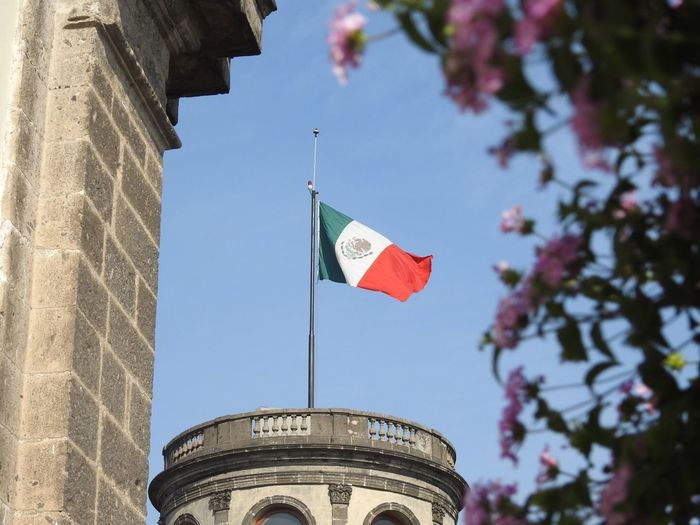 Castillo De Chapultepec Flag Patriotism Low Angle View Architecture Day Built Structure Pride Building Exterior No People Outdoors Sky Tree