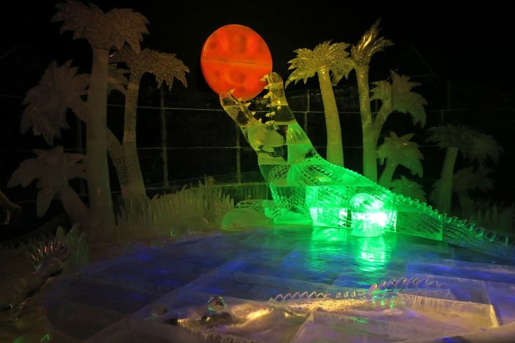 Multi colored illuminated light painting at night