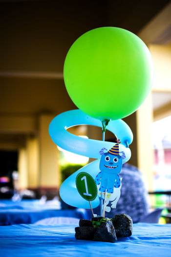 1stbirthday Art Balloon Birthday Birthday Boy Birthday Party Blue Decor Decoration Green Color Monsters INC Table Setting
