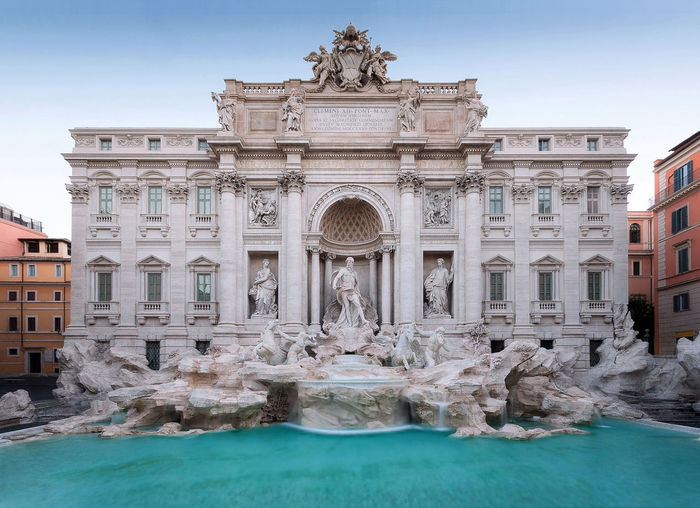 The famous Trevi fountain seen from the front. daylight photography with natural light, long exposure to highlight the movement of the water falls. Architecture Building Exterior Built Structure Capital Cities  City Column Day Exterior Magnifique Marble Monument No People Outdoors Restored Rome Italy Tourism Travel Destinations TreviFountain