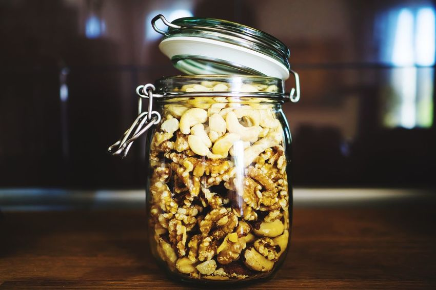 Nuts Jar Container Focus On Foreground Glass - Material Indoors  Close-up Table No People Transparent Food And Drink Still Life Wellbeing Food Healthy Eating Freshness Wood - Material Day Home Interior Mason Jar Homemade