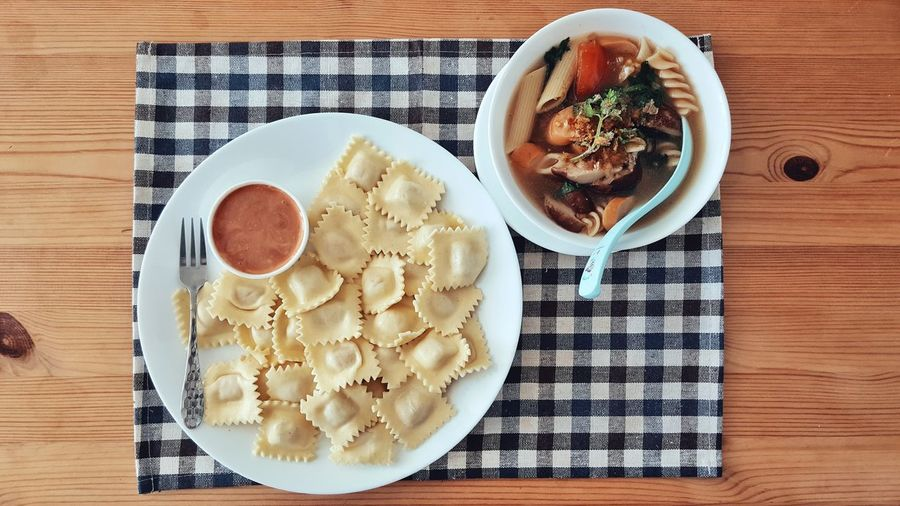 Stuff Pasta and Thai Style Macaroni Soup - Food Plate Table Freshness Cooked Indoors  Snack Lunch Breakfast Carbohydrate Dish Italian Delicious Homemade Sauce Tomato Stuffed DIP