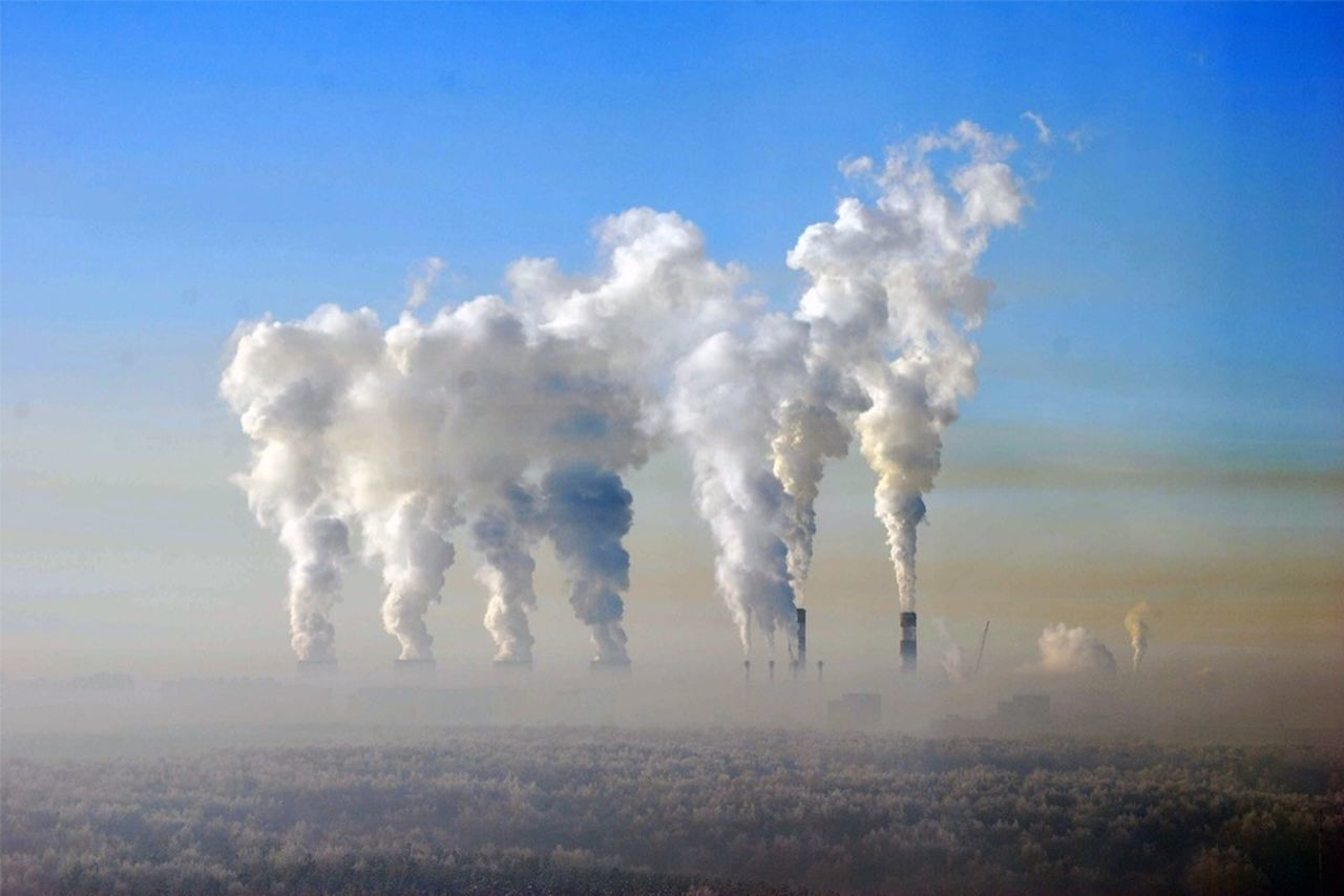 Smoke emitting from factory