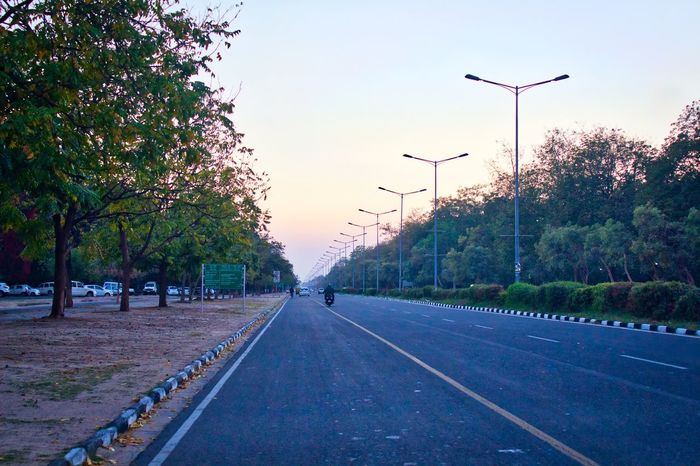 A clean road during sunset at Chandigarh, India. Road The Way Forward Outdoors Sky Beauty In Nature City Sunset Empty Road No Traffic Street Photography Cleanliness The Great Outdoors - 2017 EyeEm Awards