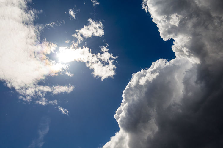 Stormy Weather Backgrounds Beauty In Nature Blue Bright Cloud - Sky Cloudscape Day Environment Heaven Idyllic Low Angle View Meteorology Nature No People Outdoors Scenics - Nature Sky Softness Storm Cloud Sunlight Tranquil Scene Tranquility White Color Wind