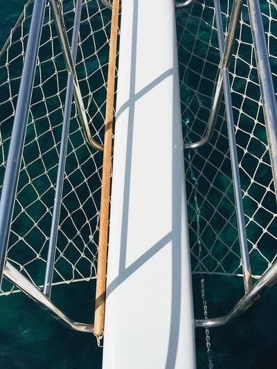Grid Day Front Deck Low Angle View Net No People Sail Sailing Sea Shadow Yacht Yacht Nose Yacht Part