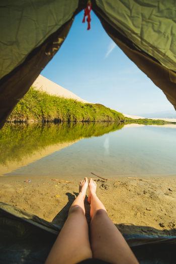 Camping Legs Tent Campinglife Outdoors Adventure Lake Arid Climate Woman