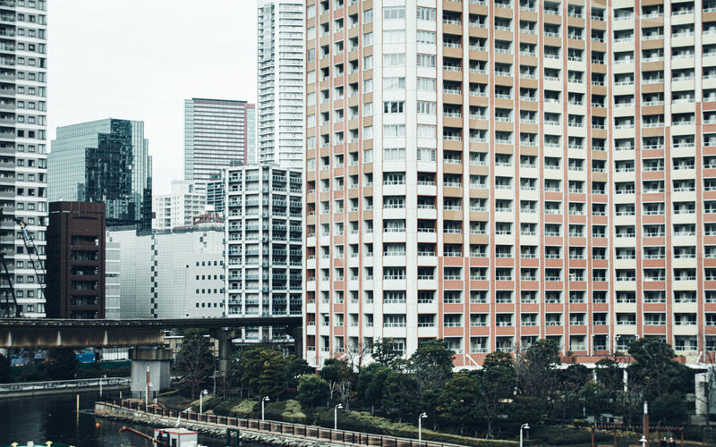 Modern buildings in city in tokyo japan