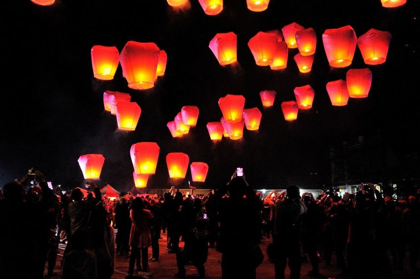 New Taipei City Lantern Festival folk culture festival daylight Holiday Light Nightphotography Reunion  Sky Lanterns In The Sky Taiwan Celebration Crowd Cultures Festival Illuminated Joy Lantern Lantern Festival Large Group Of People Men New Taipei City Night Outdoors People Real People Sky Sky Lantern Traditional Festival Women