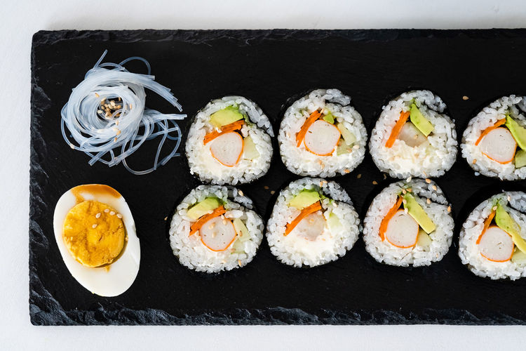Directly above shot of sushi served on plate