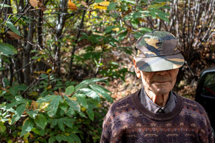 An old man among nature