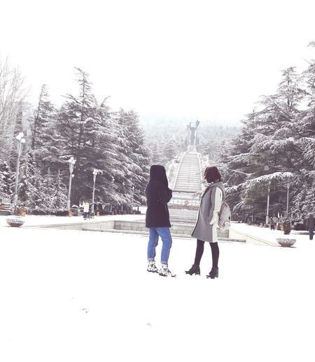 Winter Two People Snow Togetherness Friendship Outdoors Warm Clothing Snowing Cold Temperature Leisure Activity People Tree Nature Day