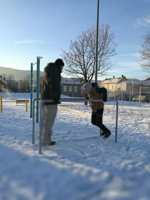 Men Two People Day Winter Outdoors People Leisure Activity Snowing Calesthenics Streetworkout Sunday Fun