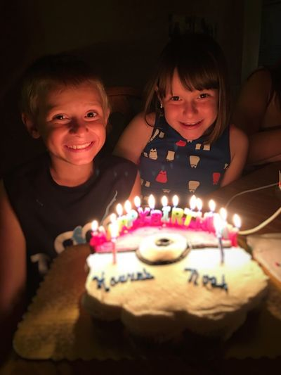 Portrait Of Happy Children With Birthday Cake At Home
