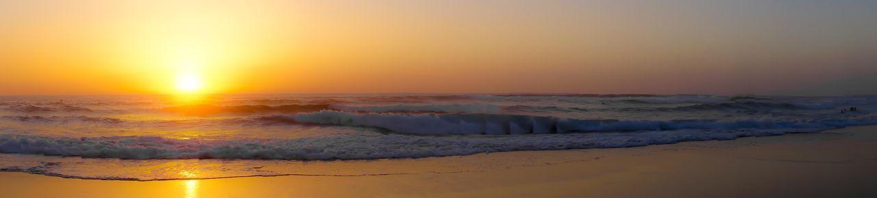Sunset Panorama Ocean Waves