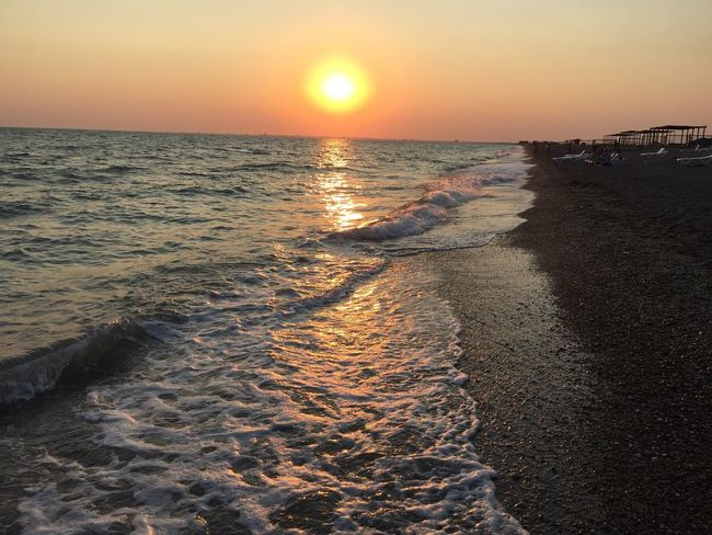 Beautiful Sunset 🌕 The Crimea Is A Land Of Amazing Beauty Crimea Outdoors Sea Nature No People Summertime ♥ Summer Water I Love Sunsets