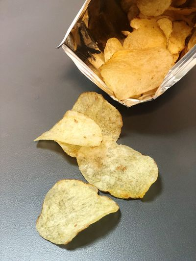 Potato Chips Snack High Angle View No People Close-up Leaf Plant Part Nature Directly Above Food Table Still Life