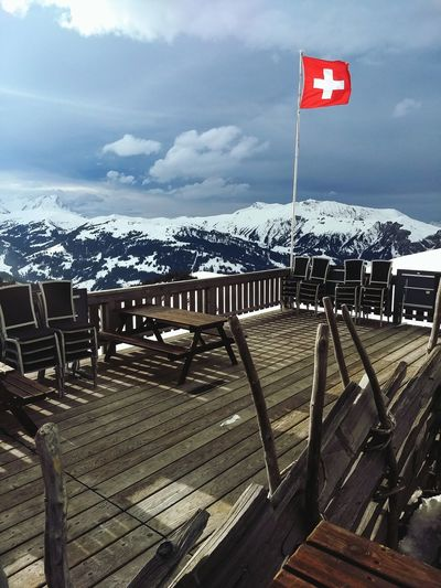Hahnenmoos Terrasse Switzerland Hahnenmoospass Adelboden-Lenk Flag No People Day Outdoors Sky