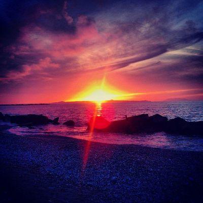 sunset today Sunset Sundown Landscape Sun Sky Sea INSTAOFDAY Picoftheday Walk Sicily Italy Love